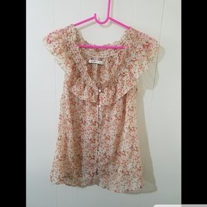 Old Navy see thru floral sleeveless blouse Large